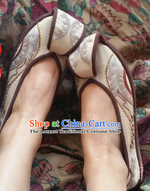 Chinese National Beige Shoes Traditional Cloth Shoes Hanfu Shoes Embroidered Shoes for Women