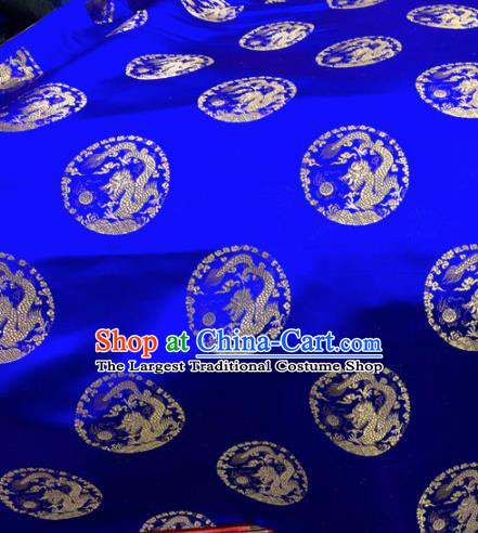 Chinese Traditional Buddhism Round Dragons Pattern Design Royalblue Brocade Silk Fabric Tibetan Robe Satin Fabric Asian Material