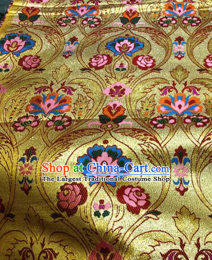 Chinese Traditional Buddhism Cockscomb Pattern Golden Brocade Silk Fabric Tibetan Robe Satin Fabric Asian Material