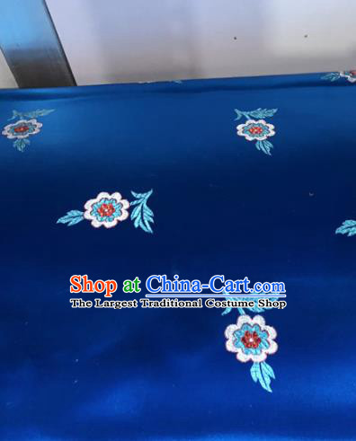 Chinese Traditional Buddhism Flowers Pattern Navy Brocade Silk Fabric Tibetan Robe Satin Fabric Asian Material