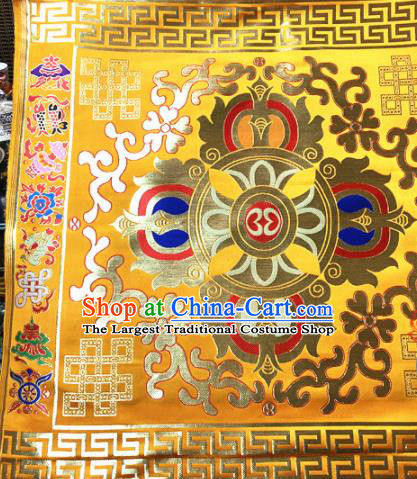 Chinese Traditional Buddhism Vajry Pestle Pattern Golden Brocade Silk Fabric Tibetan Robe Satin Fabric Asian Material