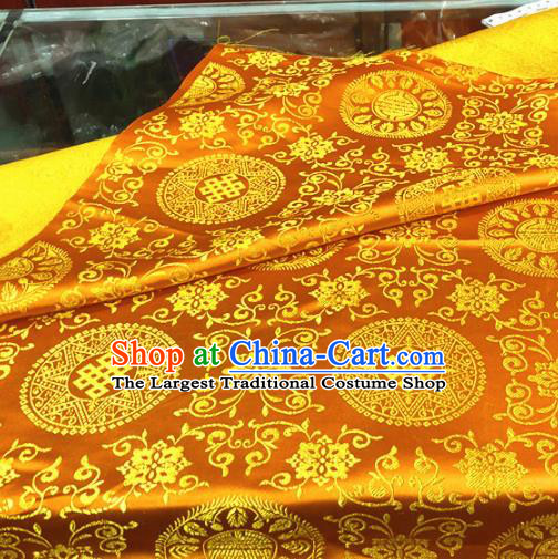 Chinese Traditional Buddhism Lucky Flowers Pattern Golden Brocade Silk Fabric Tibetan Robe Satin Fabric Asian Material