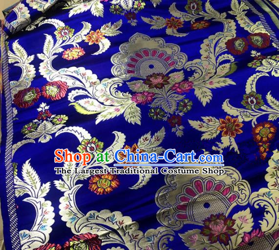 Chinese Traditional Buddhism Chrysanthemum Pattern Royalblue Brocade Silk Fabric Tibetan Robe Satin Fabric Asian Material