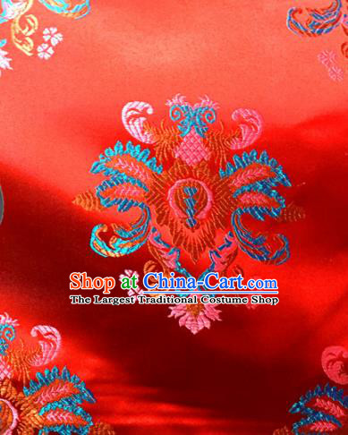 Chinese Traditional Buddhism Rosette Pattern Red Brocade Silk Fabric Tibetan Robe Satin Fabric Asian Material