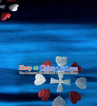 Chinese Traditional Buddhism Heart Pattern Blue Brocade Silk Fabric Tibetan Robe Satin Fabric Asian Material