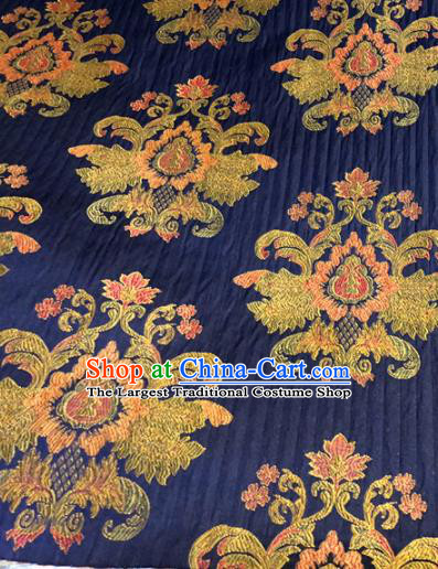 Chinese Traditional Buddhism Pattern Navy Brocade Silk Fabric Tibetan Robe Satin Fabric Asian Material