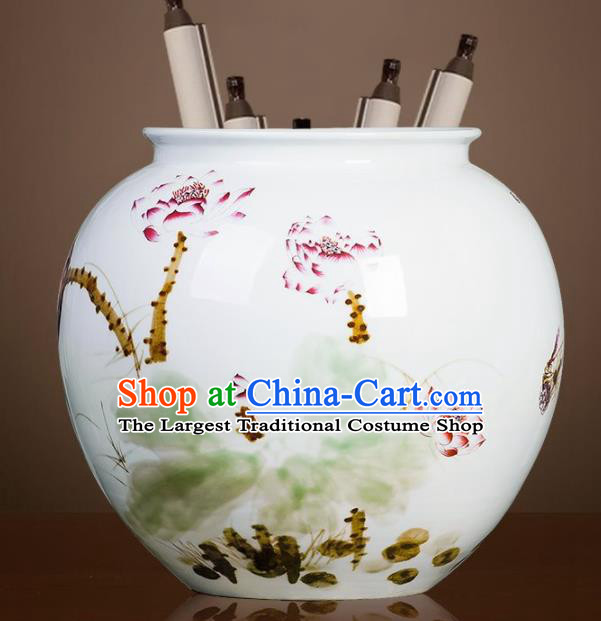 Chinese Jingdezhen Ceramic Hand Painting Lotus Fambe Vase Handicraft Traditional Porcelain Vase
