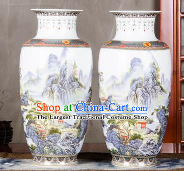 Chinese Traditional Printing Temple View Enamel Vase Jingdezhen Ceramic Handicraft