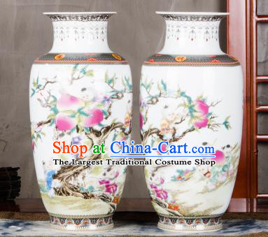 Chinese Traditional Printing Peach Enamel Vase Jingdezhen Ceramic Handicraft