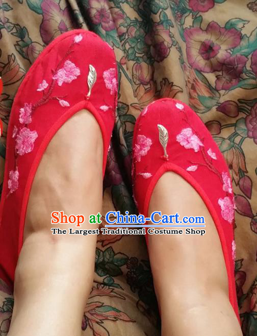 Chinese National Red Shoes Traditional Wedding Cloth Shoes Hanfu Shoes Embroidered Shoes for Women