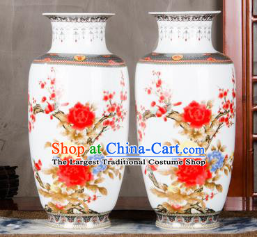 Chinese Traditional Printing Red Peony Enamel Vase Jingdezhen Ceramic Handicraft