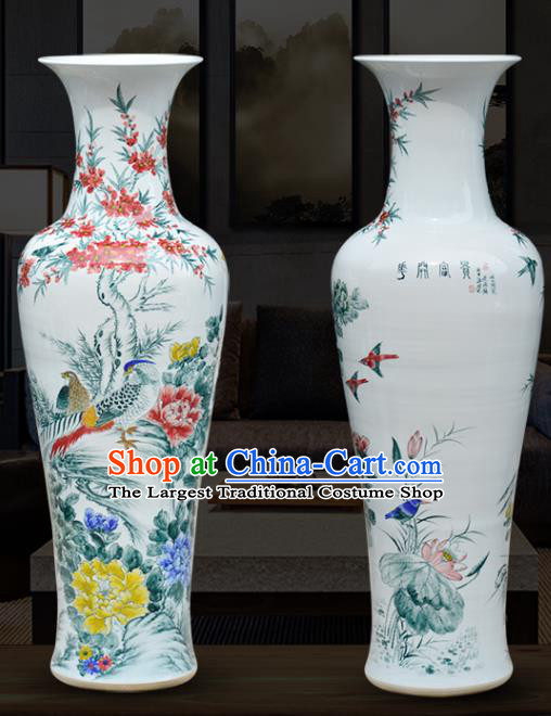 Chinese Traditional Printing Peony Birds Lotus Enamel Vase Jingdezhen Ceramic Handicraft