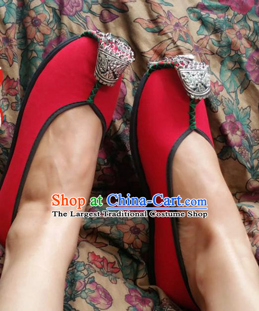 Chinese Ancient Princess Red Shoes Traditional Wedding Cloth Shoes Hanfu Shoes Embroidered Shoes for Women