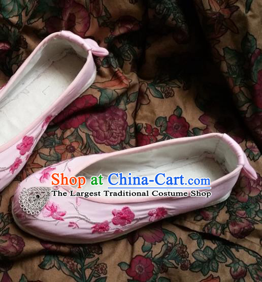 Chinese Ancient Princess Pink Shoes Traditional Wedding Cloth Shoes Hanfu Shoes Embroidered Shoes for Women