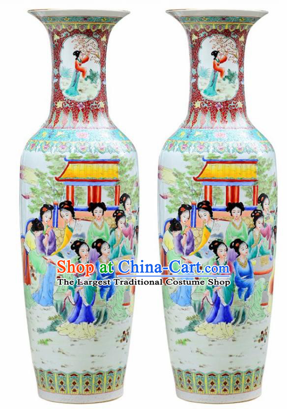 Chinese Traditional Hand Painting Beauty Enamel Vase Jingdezhen Ceramic Handicraft
