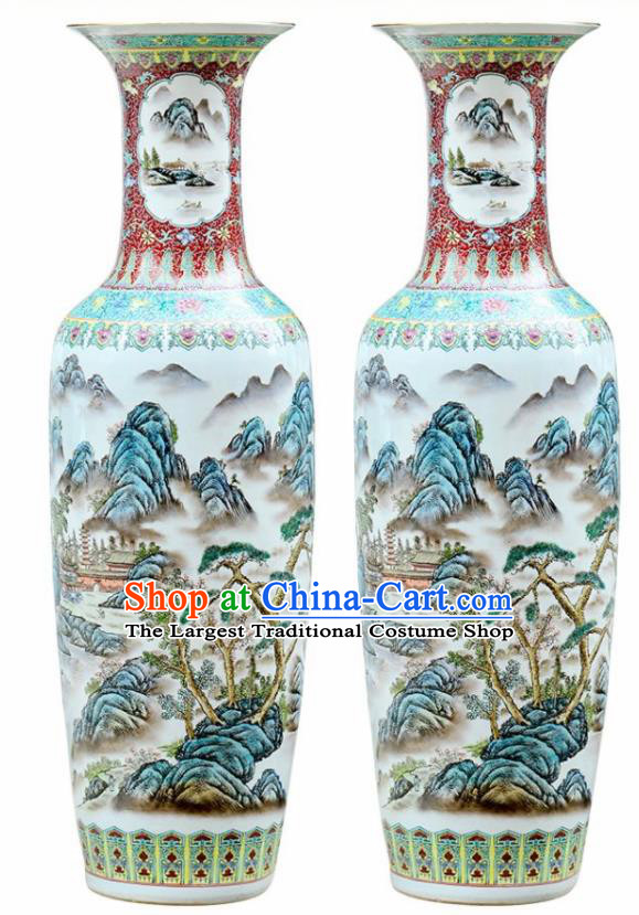 Chinese Traditional Hand Painting Landscape Enamel Vase Jingdezhen Ceramic Handicraft