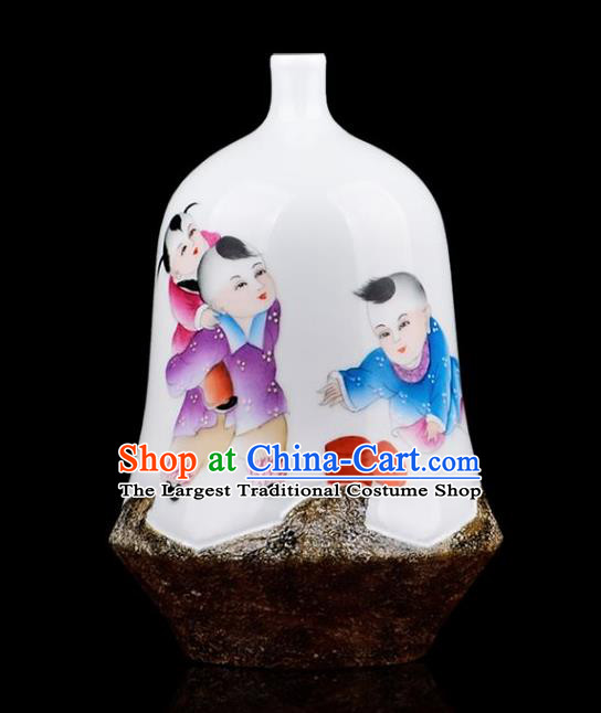 Chinese Jingdezhen Ceramic Craft Painting Boys Powder Enamel Vase Handicraft Traditional Porcelain Vase
