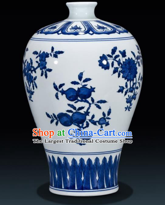 Chinese Jingdezhen Ceramic Craft Hand Painting Pomegranate Enamel Vase Handicraft Traditional Porcelain Vase