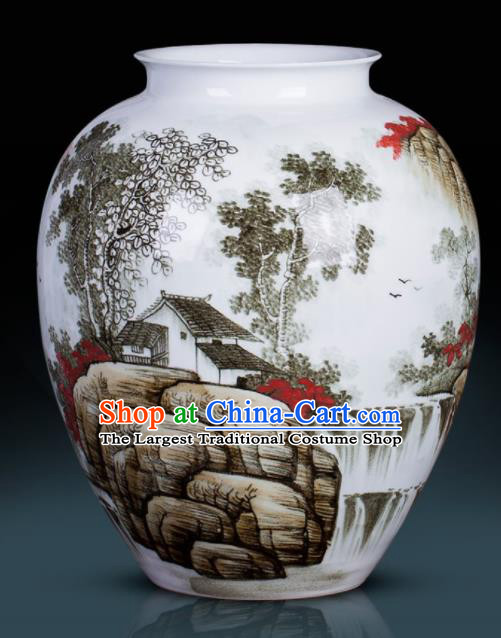 Chinese Jingdezhen Ceramic Craft Hand Painting Landscape Bocksbeutel Vase Enamel Handicraft Traditional Porcelain Vase