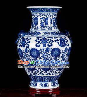 Chinese Jingdezhen Ceramic Craft Twine Pattern Amphora Vase Enamel Handicraft Traditional Porcelain Vase