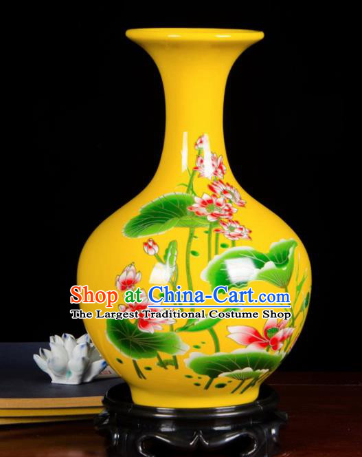 Chinese Jingdezhen Ceramic Craft Hand Painting Lotus Yellow Enamel Design Vase Handicraft Traditional Porcelain Vase