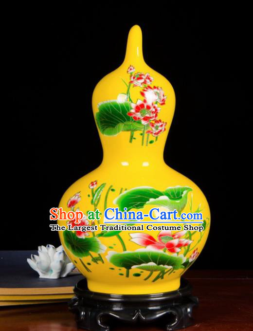 Chinese Jingdezhen Ceramic Craft Hand Painting Lotus Yellow Enamel Calabash Vase Handicraft Traditional Porcelain Vase
