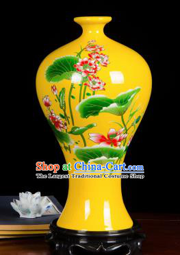 Chinese Jingdezhen Ceramic Craft Hand Painting Lotus Yellow Enamel Prunus Vase Handicraft Traditional Porcelain Vase