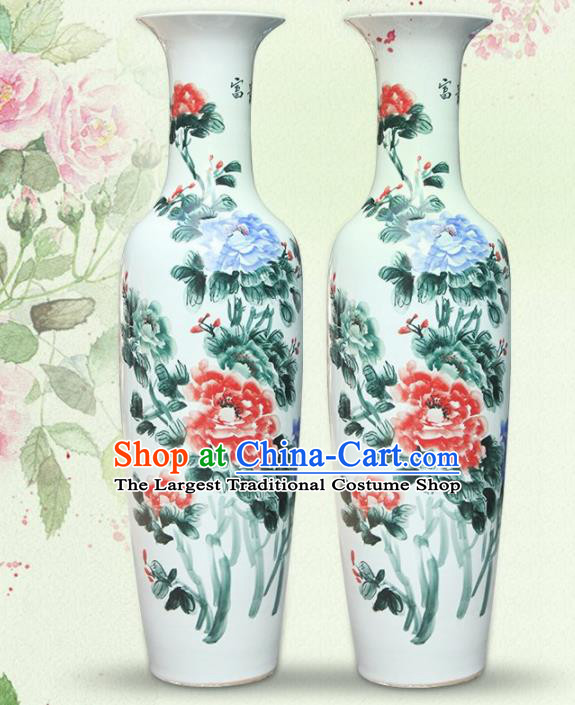 Chinese Traditional Hand Painting Peony Enamel Vase Jingdezhen Ceramic Handicraft