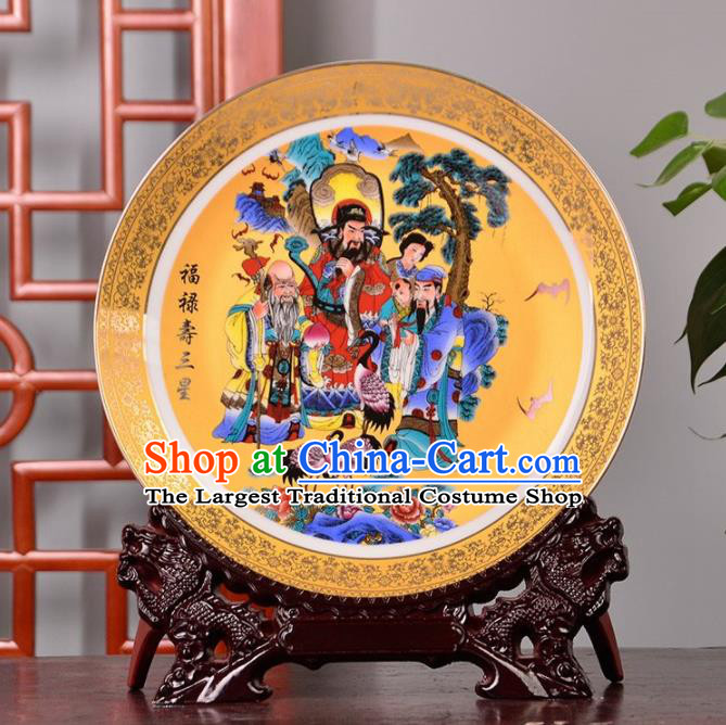 Chinese Traditional Hand Painting Three Stars of Luck Decoration Enamel Dish Jingdezhen Ceramic Handicraft