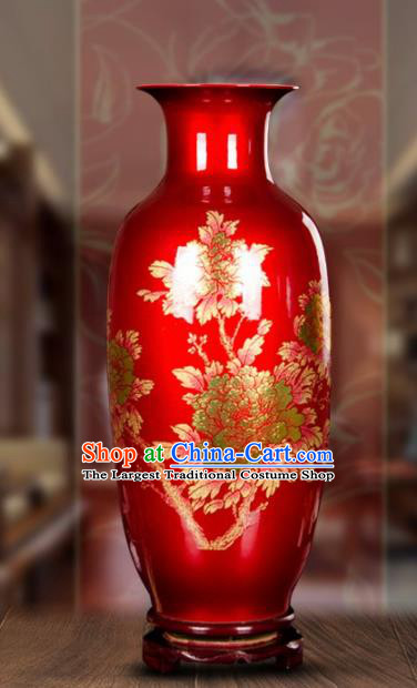 Chinese Jingdezhen Ceramic Craft Printing Peony Pattern Red Enamel Vase Handicraft Traditional Porcelain Vase
