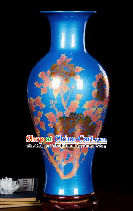 Chinese Jingdezhen Ceramic Craft Printing Peony Pattern Blue Enamel Vase Handicraft Traditional Porcelain Vase