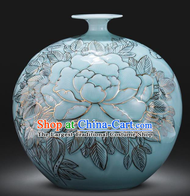 Chinese Jingdezhen Ceramic Craft Peony Pattern Enamel Pomegranate Vase Handicraft Traditional Porcelain Vase