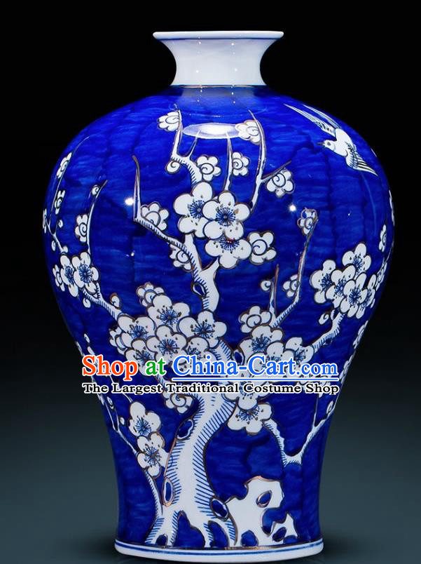 Chinese Jingdezhen Ceramic Handicraft Traditional Blue and White Porcelain Plum Blossom Prunus Vase