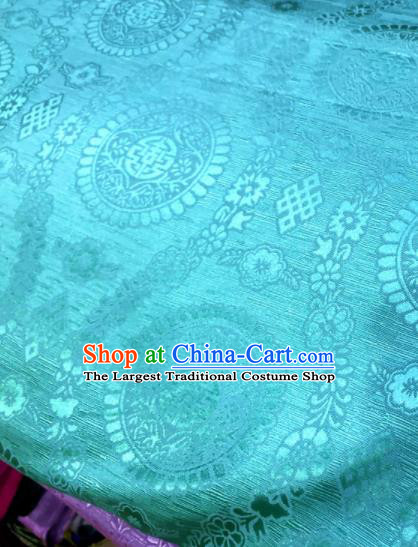 Chinese Traditional Buddhism Pattern Design Blue Brocade Silk Fabric Chinese Fabric Asian Material