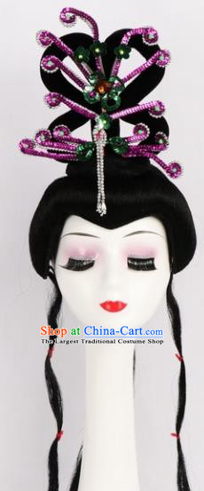 Chinese Ancient Peri Wigs and Rosy Phoenix Tassel Hairpins Traditional Peking Opera Artiste Hair Accessories for Women