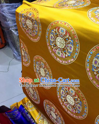 Chinese Traditional Buddhism Lotus Pattern Golden Brocade Silk Fabric Tibetan Robe Satin Fabric Asian Material