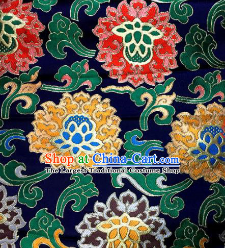 Chinese Traditional Buddhism Lotus Pattern Navy Brocade Silk Fabric Tibetan Robe Satin Fabric Asian Material