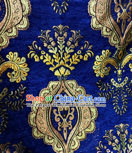 Chinese Traditional Buddhism Pattern Deep Blue Brocade Silk Fabric Tibetan Robe Satin Fabric Asian Material