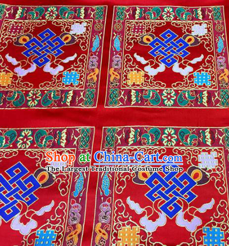 Chinese Traditional Buddhism Chinese Knot Pattern Red Brocade Silk Fabric Tibetan Robe Satin Fabric Asian Material