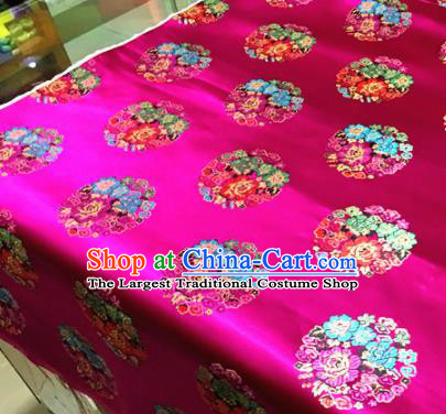 Chinese Traditional Buddhism Round Peony Pattern Rosy Brocade Silk Fabric Tibetan Robe Satin Fabric Asian Material