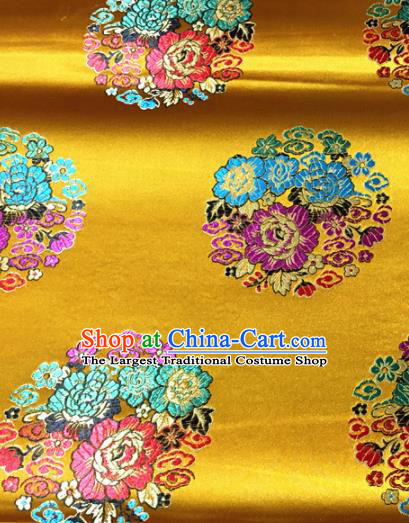 Chinese Traditional Buddhism Round Peony Pattern Golden Brocade Silk Fabric Tibetan Robe Satin Fabric Asian Material