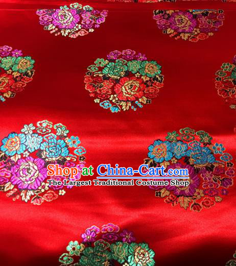 Chinese Traditional Buddhism Round Peony Pattern Red Brocade Silk Fabric Tibetan Robe Satin Fabric Asian Material
