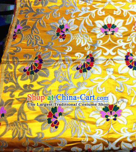 Chinese Traditional Buddhism Twine Lotus Pattern Golden Brocade Silk Fabric Tibetan Robe Satin Fabric Asian Material