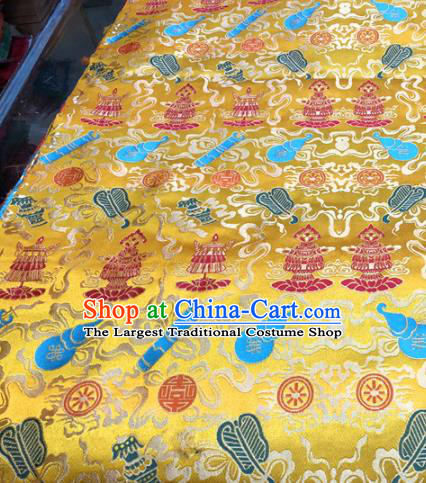 Chinese Traditional Buddhism Calabash Pattern Golden Brocade Silk Fabric Tibetan Robe Satin Fabric Asian Material
