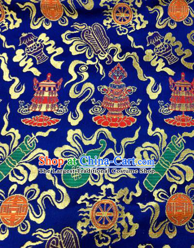 Chinese Traditional Buddhism Calabash Pattern Deep Blue Brocade Silk Fabric Tibetan Robe Satin Fabric Asian Material