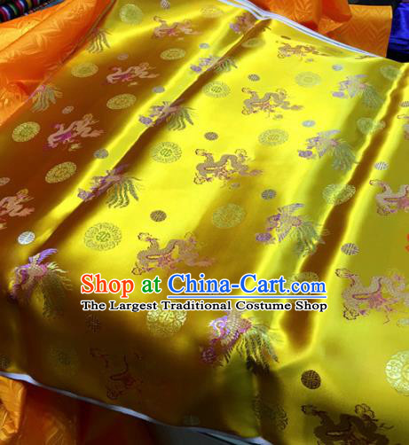 Chinese Traditional Buddhism Dragon Phoenix Pattern Golden Brocade Silk Fabric Tibetan Robe Satin Fabric Asian Material