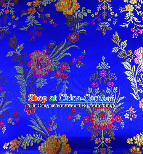 Chinese Traditional Spring Flowers Pattern Blue Brocade Silk Fabric Tibetan Robe Satin Fabric Asian Buddhism Material