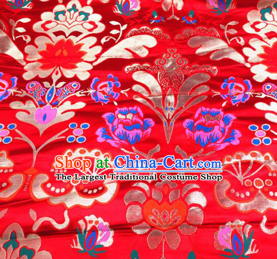 Chinese Traditional Pattern Red Brocade Silk Fabric Tibetan Robe Satin Fabric Asian Buddhism Material