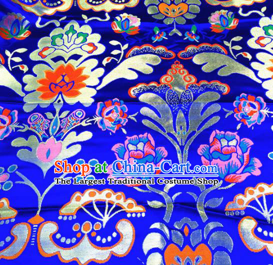 Chinese Traditional Pattern Royalblue Brocade Silk Fabric Tibetan Robe Satin Fabric Asian Buddhism Material