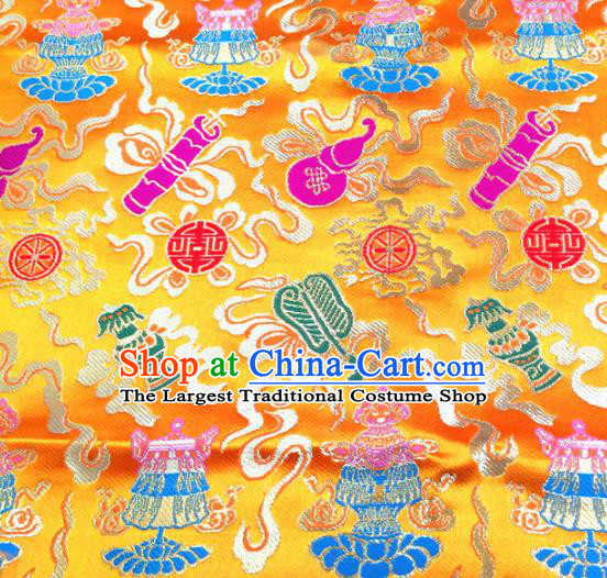 Chinese Traditional Lucky Pattern Golden Brocade Silk Fabric Tibetan Robe Satin Fabric Asian Buddhism Material